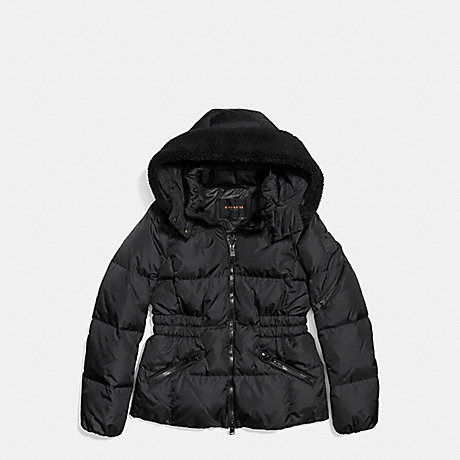 COACH ICON SHORT PUFFER - BLACK - f86038