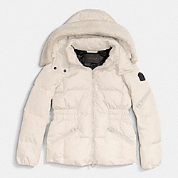 COACH ICON SHORT PUFFER - PEARL - F86038