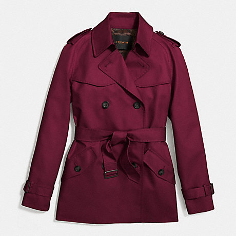 COACH SOLID SHORT TRENCH - WINE - f86050