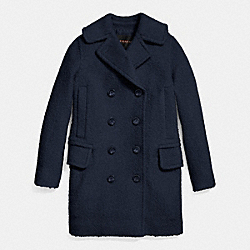 LONG PEACOAT - f86051 - MIDNIGHT NAVY