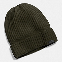 COACH CASHMERE KNIT RIBBED BEANIE - SURPLUS - F86070
