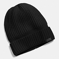 COACH CASHMERE KNIT RIBBED BEANIE - BLACK - F86070