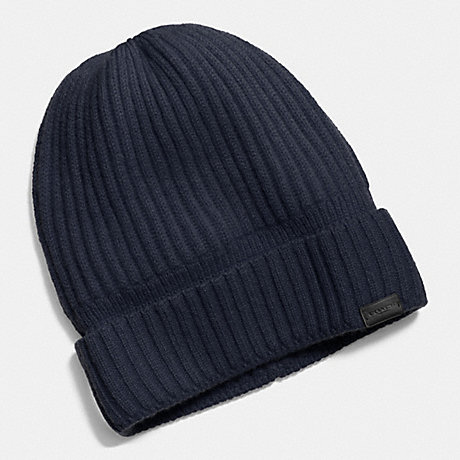 COACH CASHMERE KNIT RIBBED BEANIE - MIDNIGHT - f86070