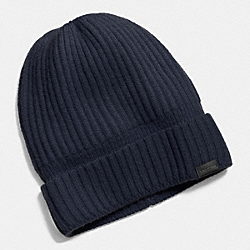 CASHMERE KNIT RIBBED BEANIE - MIDNIGHT - COACH F86070