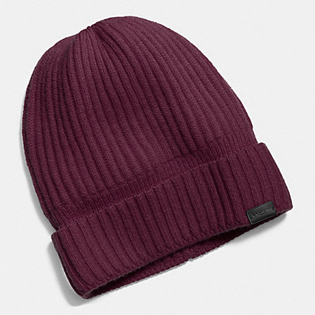 COACH CASHMERE KNIT RIBBED BEANIE - OXBLOOD - f86070