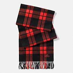 COACH FIELD PLAID SCARF - ORANGE/BLACK - F86076