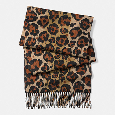 COACH NATURAL LEOPARD SCARF - NATURAL - f86079