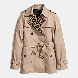 COACH OCELOT BLOCKED SHORT TRENCH - KHAKI MULTI - F86083