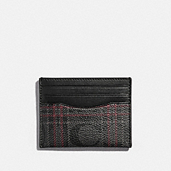 SLIM CARD CASE IN SIGNATURE CANVAS WITH SHIRTING PLAID PRINT - QB/BLACK RED MULTI - COACH F86112