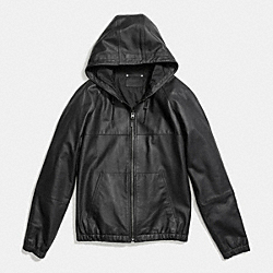 LEATHER TRAINER HOODIE - BLACK - COACH F86141