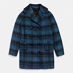 PLAID LONG PEACOAT - DARK SLATE - COACH F86235