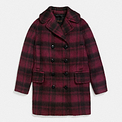 PLAID LONG PEACOAT - DARK CRANBERRY - COACH F86235