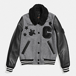 VARSITY JACKET WITH COLLAR - GRAY/BLACK - COACH F86236