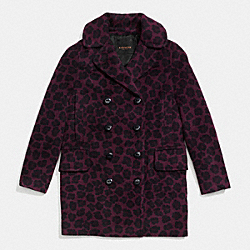 OCELOT LONG PEACOAT - f86238 - DARK CRANBERRY