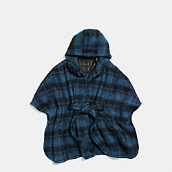 PLAID CAPE - DARK SLATE - COACH F86266