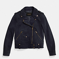 SUEDE MOTO JACKET - MIDNIGHT NAVY - COACH F86426