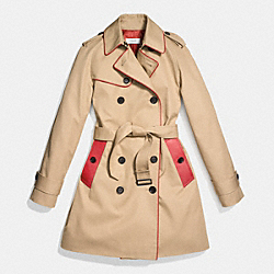 LEATHER PIPED TRENCH COAT - CLASSIC KHAKI/VERMILLION - COACH F86460