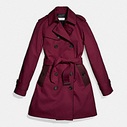 LEATHER PIPED TRENCH - f86460 - WINE OXBLOOD