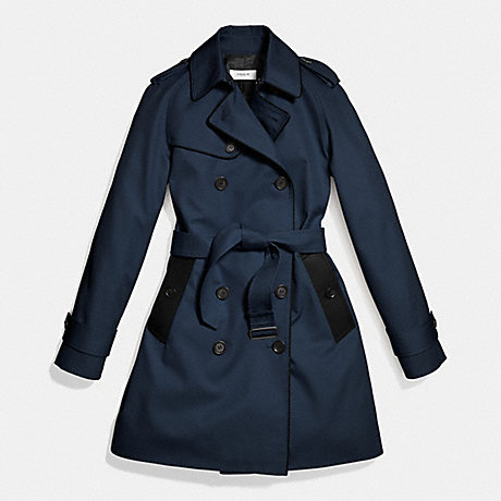 COACH LEATHER PIPED TRENCH - NAVY/BLACK - f86460