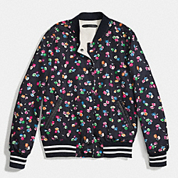 REVERSIBLE VARSITY JACKET - MID NAVY MULTI/WHEAT - COACH F86463