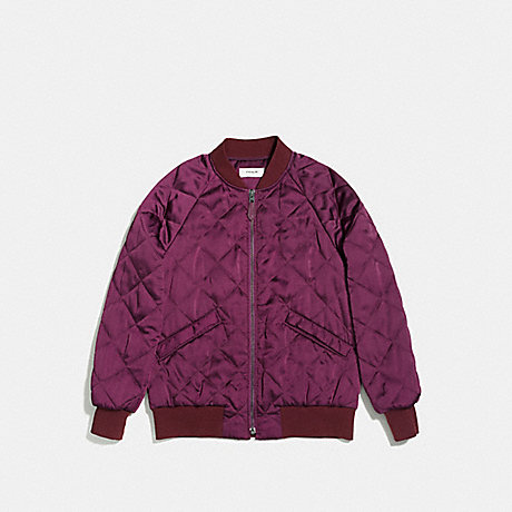 COACH QUILTED BOMBER JACKET - WINE - f86472