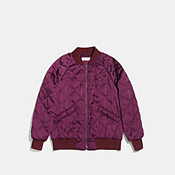 QUILTED BOMBER JACKET - f86472 - WINE