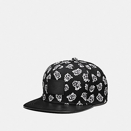 COACH FLAT BRIM HAT IN COLORBLOCK LEATHER - BLACK/WHITE FLORAL - f86475