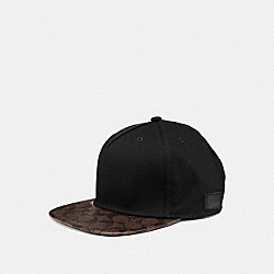 FLAT BRIM HAT IN SIGNATURE - SADDLE/MAHOGANY - COACH F86476