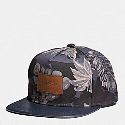 FLAT BRIM HAT IN CANVAS - HAWAIIAN PALM - COACH F86478