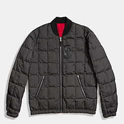 COACH PACKABLE DOWN MA-1 JACKET - GRAPHITE/RED - F86519