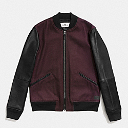 WOOL LEATHER VARSITY JACKET - OXBLOOD/BLACK - COACH F86524