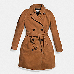 SUEDE DRAPEY TRENCH - f86526 - COGNAC