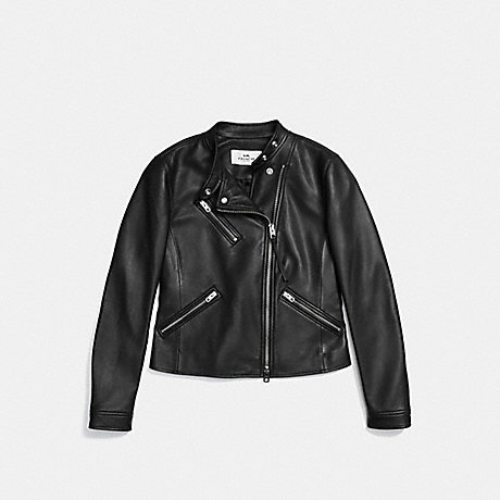 COACH UPTOWN RACER JACKET - BLACK - f86528