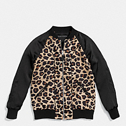 LEOPARD REVERSIBLE BASEBALL JACKET - NATURAL MULTI - COACH F86535