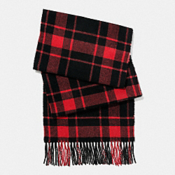 COACH CASHMERE BLEND MOUNT PLAID SCARF - BLACK/RED - F86538
