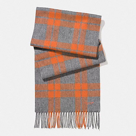 COACH CASHMERE BLEND MOUNT PLAID SCARF - CHARCOAL/ORANGE - f86538