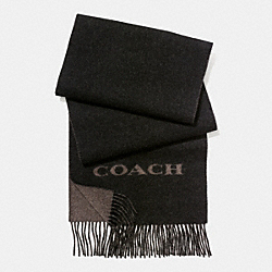 COACH CASHMERE BLEND BI-COLOR LOGO SCARF - BLACK/BROWN - F86542