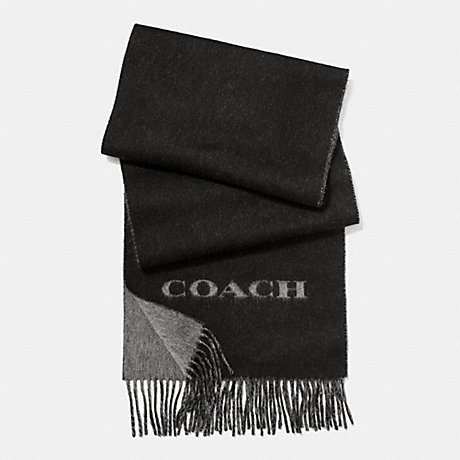COACH CASHMERE BLEND BI-COLOR LOGO SCARF - BLACK/CHARCOAL - f86542
