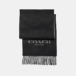 CASHMERE BLEND BI-COLOR LOGO SCARF - BLACK - COACH F86542