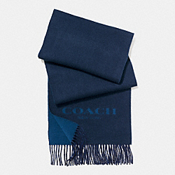 COACH CASHMERE BLEND BI-COLOR LOGO SCARF - MIDNIGHT/DENIM - F86542