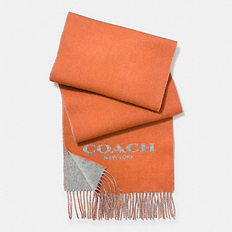 COACH CASHMERE BLEND BI-COLOR LOGO SCARF - ORANGE/FOG - f86542