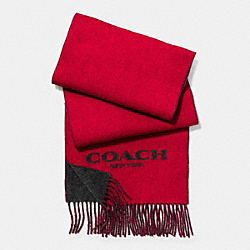 COACH CASHMERE BLEND BI-COLOR LOGO SCARF - RED/CHARCOAL - F86542