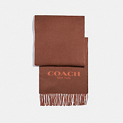 CASHMERE BLEND BI-COLOR SIGNATURE SCARF - SADDLE/GINGER - COACH F86542