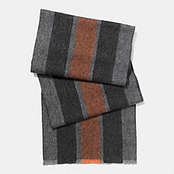 CASHMERE BLEND VARSITY SPORT SCARF - ORANGE/FOG - COACH F86547