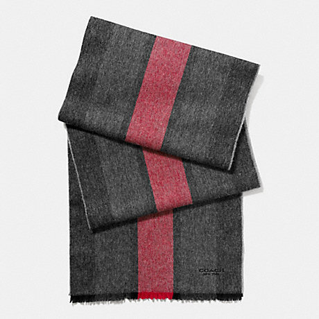 COACH CASHMERE BLEND VARSITY SPORT SCARF - RED/CHARCOAL - f86547