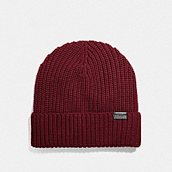 RIB KNIT MERINO WOOL HAT - BRICK RED - COACH F86553