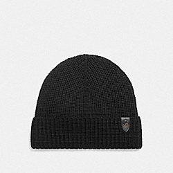 RIB KNIT MERINO WOOL HAT - BLACK - COACH F86553
