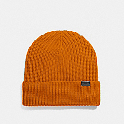 RIB KNIT MERINO WOOL HAT - BURNT ORANGE - COACH F86553