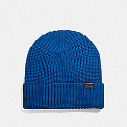 RIB KNIT MERINO WOOL HAT - DENIM - COACH F86553