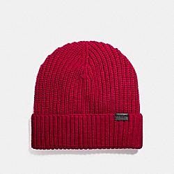 COACH MERINO WOOL RIB KNIT HAT - TRUE RED - F86553